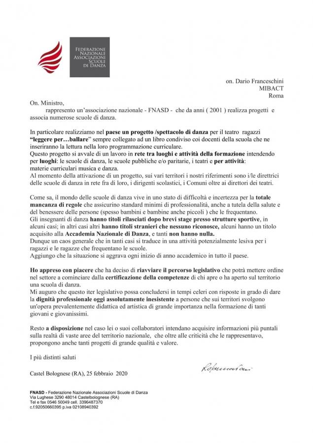 Lettera al ministro
